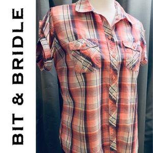 Bit & Bridle Pink Plaid Button Down W/ Cap Sleeves